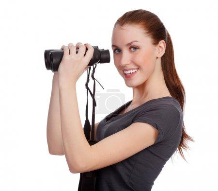 微笑女孩用双筒望远镜_高清图片_邑石网