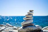克罗地亚海滩石块堆栈