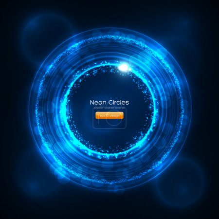 Neon Circles Abstract Vector Background