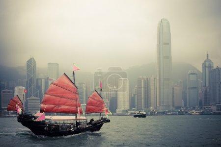 在香港的中国风格帆船
