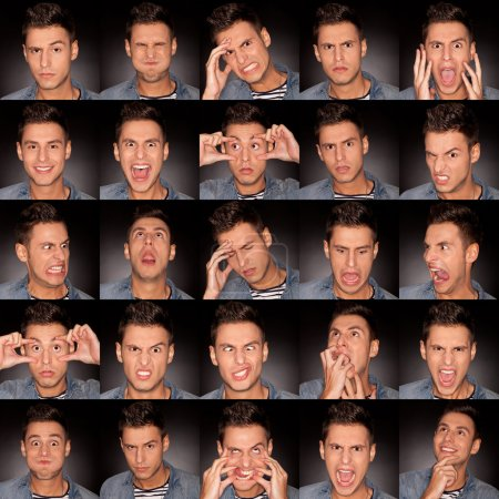 Handsome young man making faces