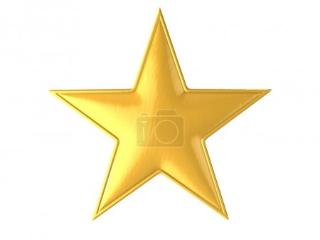 Golden star isolated over white background